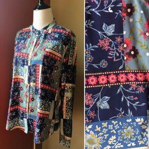 Vintage 90s Erika floral print button down blouse